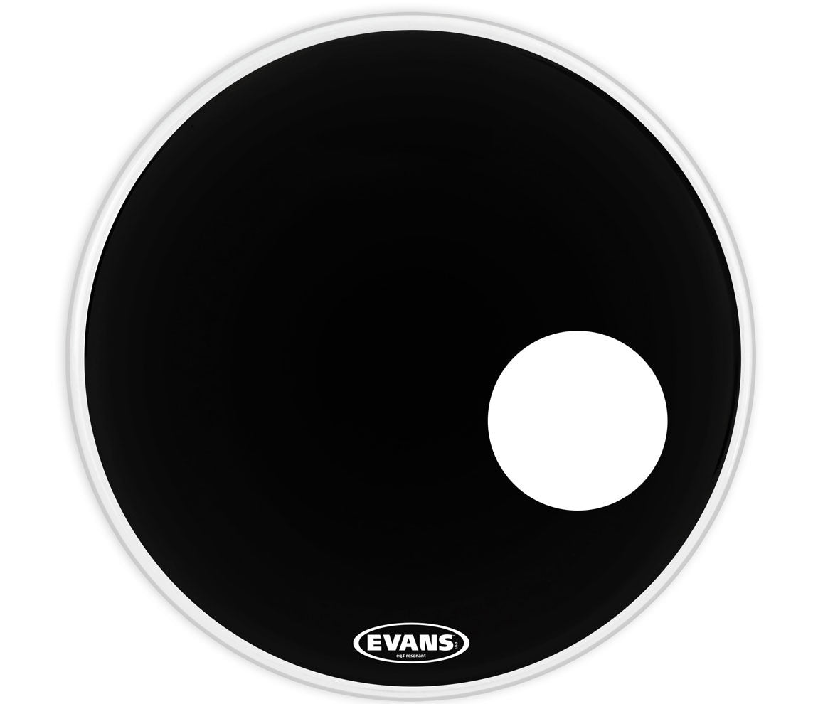 Evans EQ3 Resonant Black Bass Drum Head, 22""