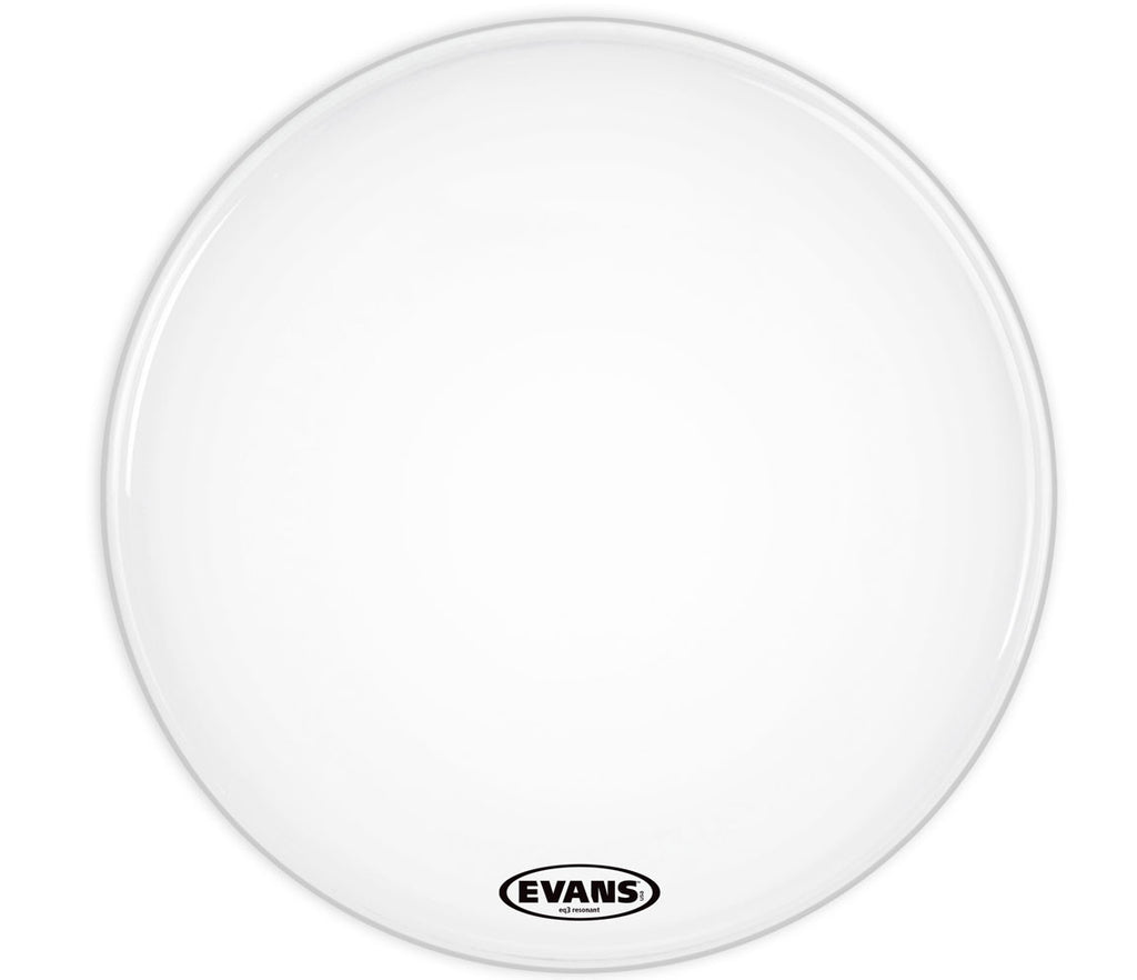 Evans EQ3 Resonant Coated White Bass Drum Head, No Port, 24""