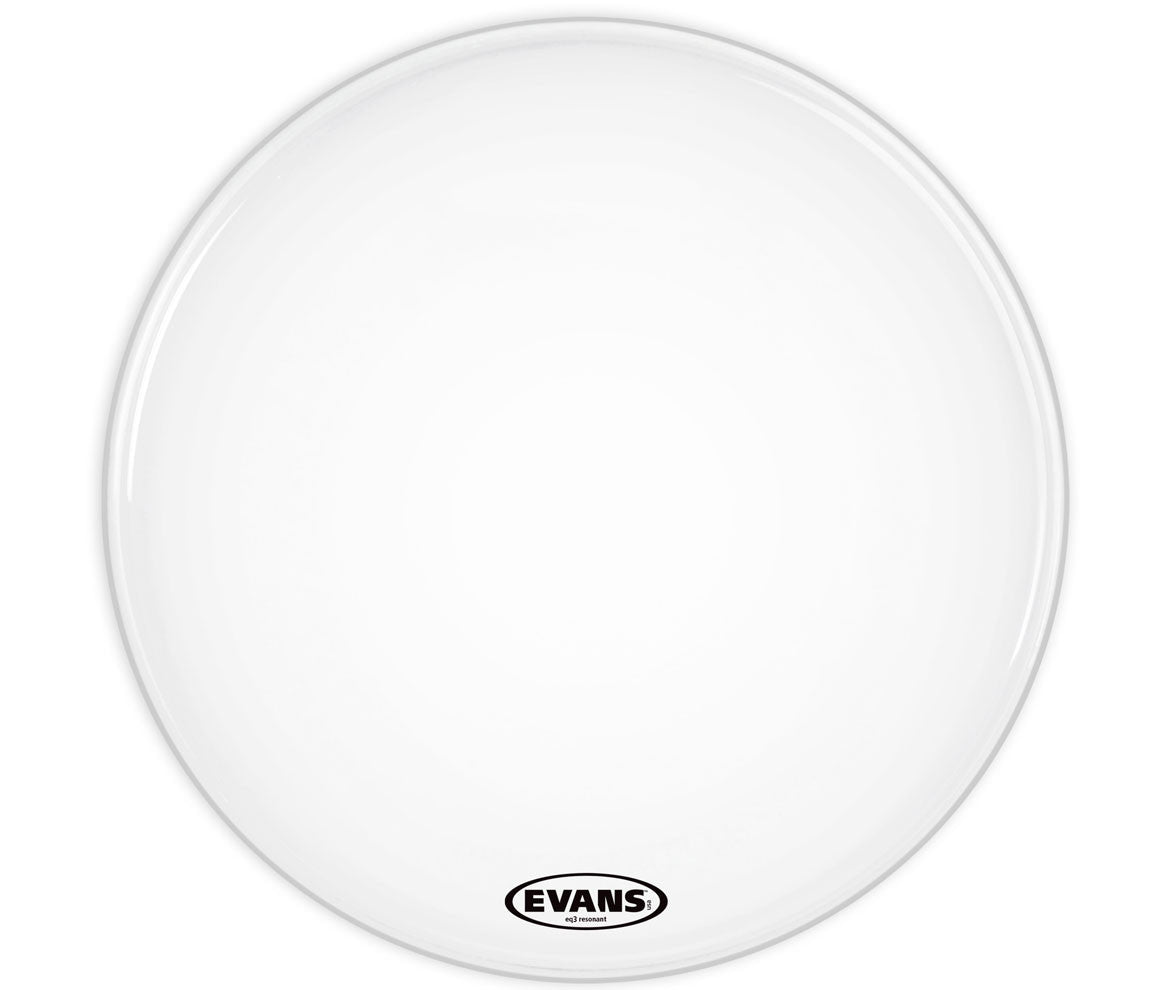 Evans EQ3 Resonant Coated White Bass Drum Head, No Port, 26""