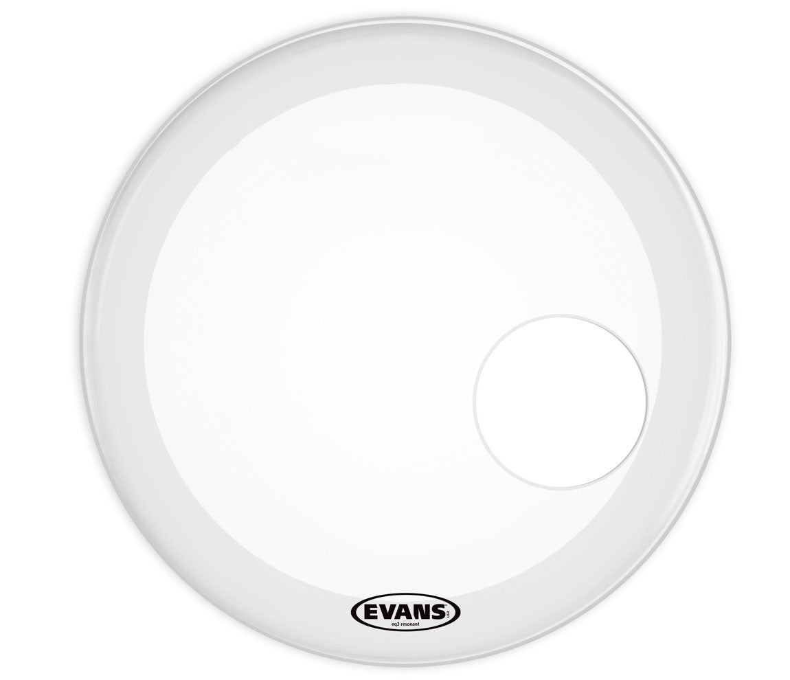 Evans EQ3 Resonant Coated White Bass Drum Head, 24""
