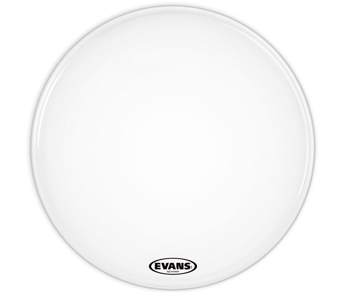 Evans EQ3 Resonant Smooth White Bass Drum Head, No Port, 16""