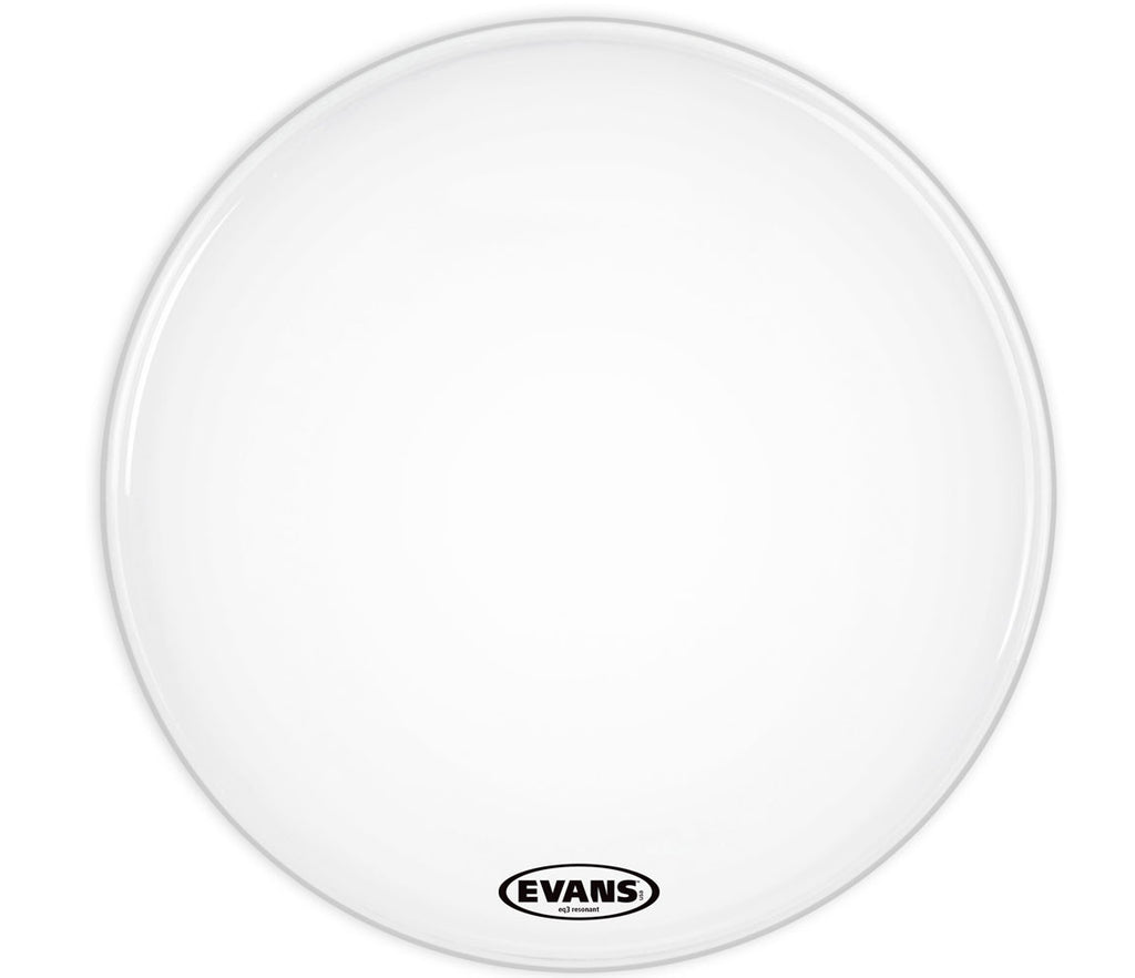 Evans EQ3 Resonant Smooth White Bass Drum Head, No Port, 18""
