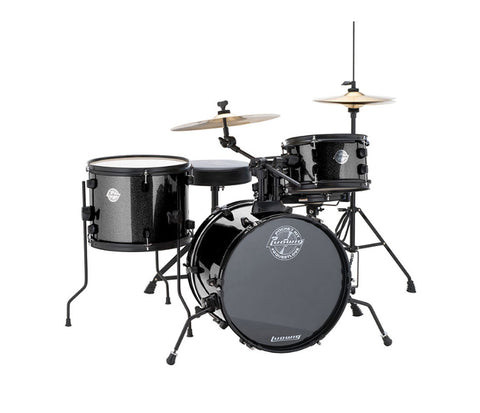 Ludwig 'The Pocket Kit' 4-Piece Beginner Drum Kit in Black Sparkle