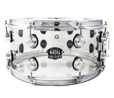 "Snare drum, Natal, Acrylic snare, Acrylic drums, Clear drum, 13"" Snare, Transparent Snare"