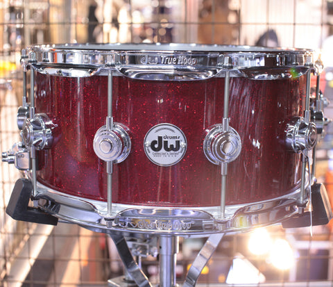 "DW Collectors 14"" x 6.5"" Snare in Ruby Red Glass Sparkle"