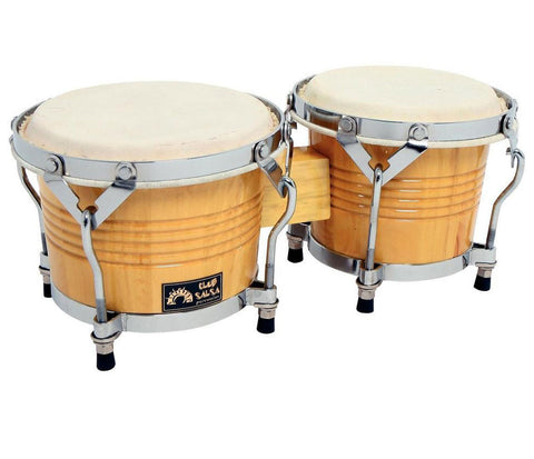 GEWApure Bongos Club Salsa 6.5 & 7.5 in Natural Finish with Chhrome Hardware