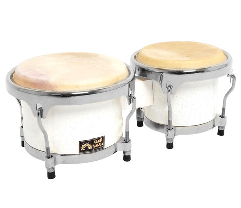 GEWApure Club Salsa 7.5 & 8.5 Bongos in White Sparkle with Chrome Hardware