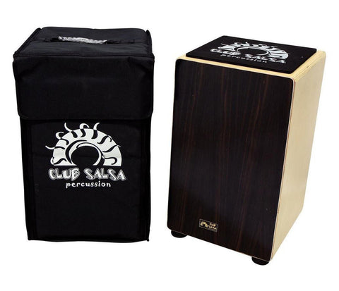 GEWApure Club Salsa Cajon Solid Wood with Ebony Front Plate Includes Rucksack Case