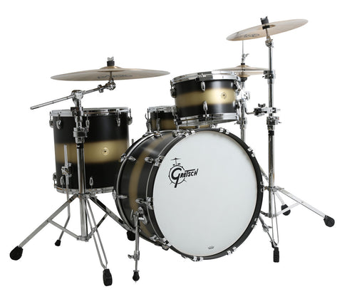 Gretsch USA Custom 4-Piece Shell Pack in Satin Black/Gold Duco