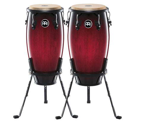 "Meinl Headliner Series Conga Set Wine Red Burst 11"" & 12"" with Basket Stands"