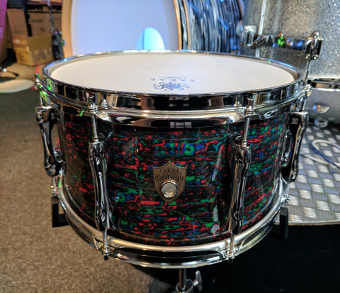 "SAKAE TRILOGY 14"" X 6.5"" SNARE DRUM IN PSYCHEDELIC RED"