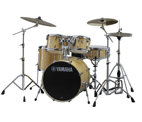 "Yamaha Stage Custom 5-Piece 20"" Drum Kit With Natural Wood Finish."