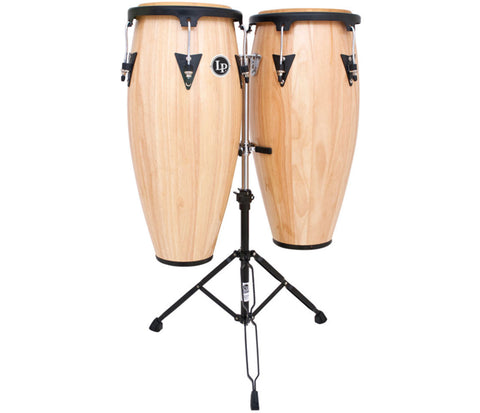"LP Aspire Wood Congaset 10"" & 11"" Natural w/sm doublestand LPA646-AW"