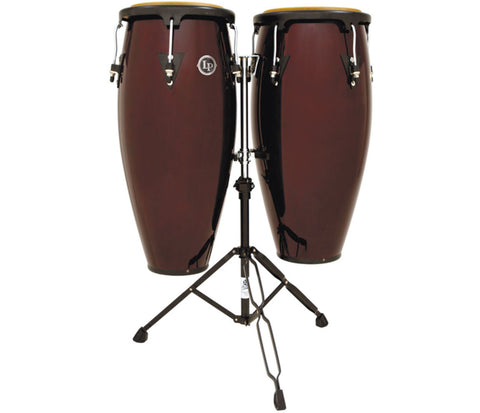 "LP Aspire Wood Congaset 10"" & 11"" Dark Wood w/sm doublestand LPA646-DW"