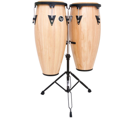 "LP Aspire Wood Congaset 11"" & 12"" Natural w/sm doublestand LPA647-AW"