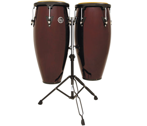 "LP Aspire Wood Conga set 11"" & 12"" Dark Wood w/sm doublestand LPA647-DW"