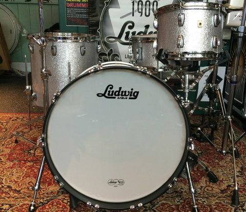 Ludwig Classic Maple 4-Piece Rock Shell Pack in Silver Sparkle