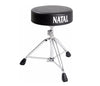 Natal DT1 Drum Throne - Black Round Seat with White Natal Logo, Natal Drum Throne, Adjustable Size, H-ST-DT1, Black with White Embroidery, Drum Thrones, Natal Logo, Standard Series