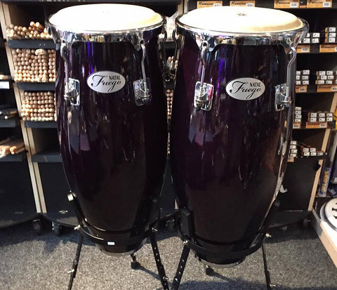 "Natal 10"" & 11"" Natural Wood Congas in Black Gloss"