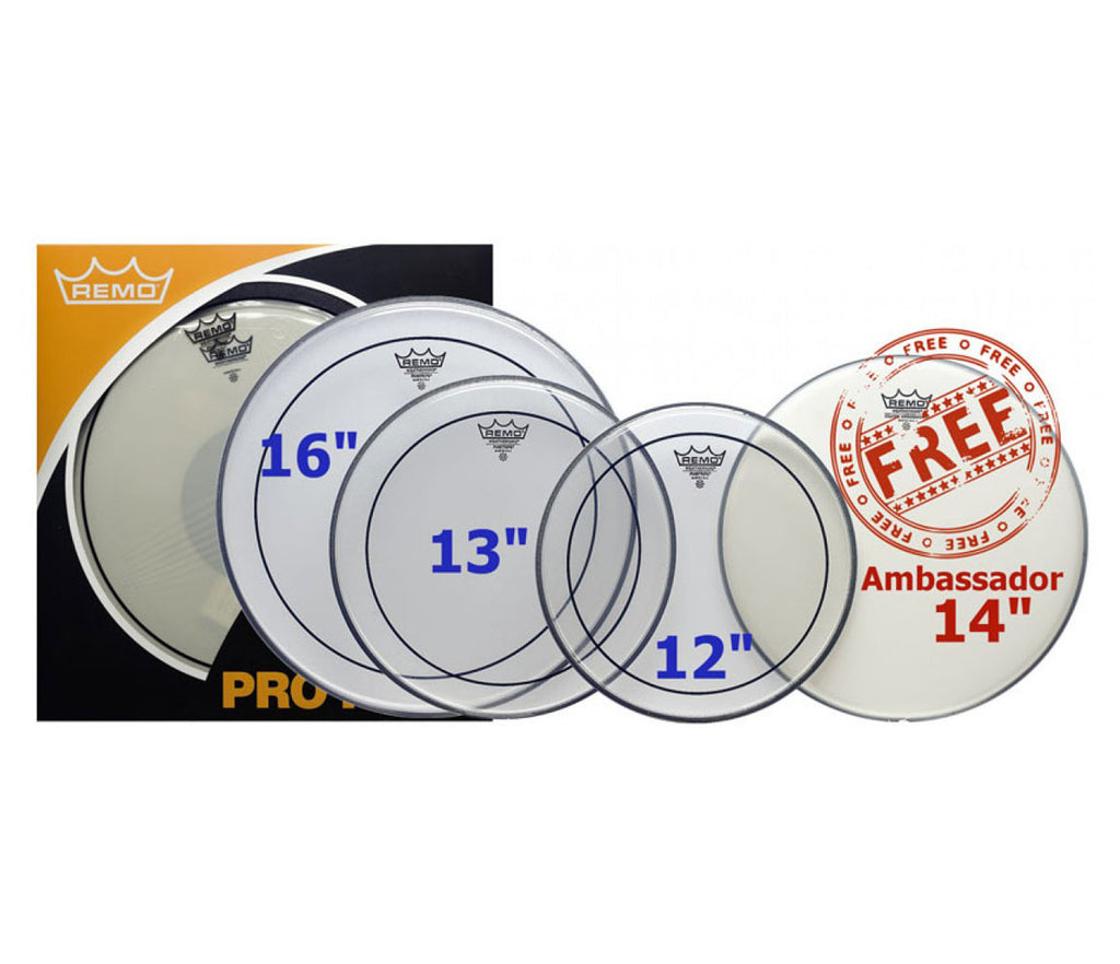 "Remo ProPack (12"", 13"", 16"" Pinstripe Clear + FREE 14"" Ambassador Coated Snare Head)"