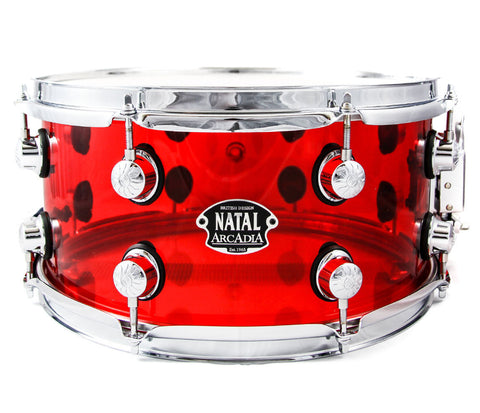 "13"" x 6.5"" Natal Arcadia Snare drum in RED Acrylic Exclusive Limited Edition"