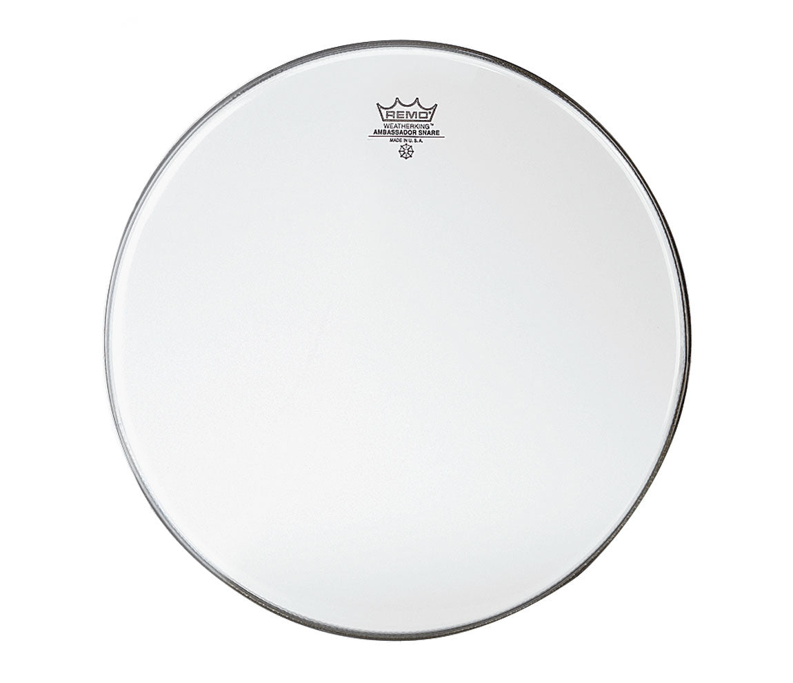 Remo Ambassador Marching head snare side