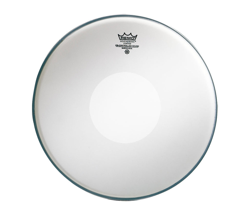 "Remo 13"" CS Coated Snare Head with white dot on the bottom"