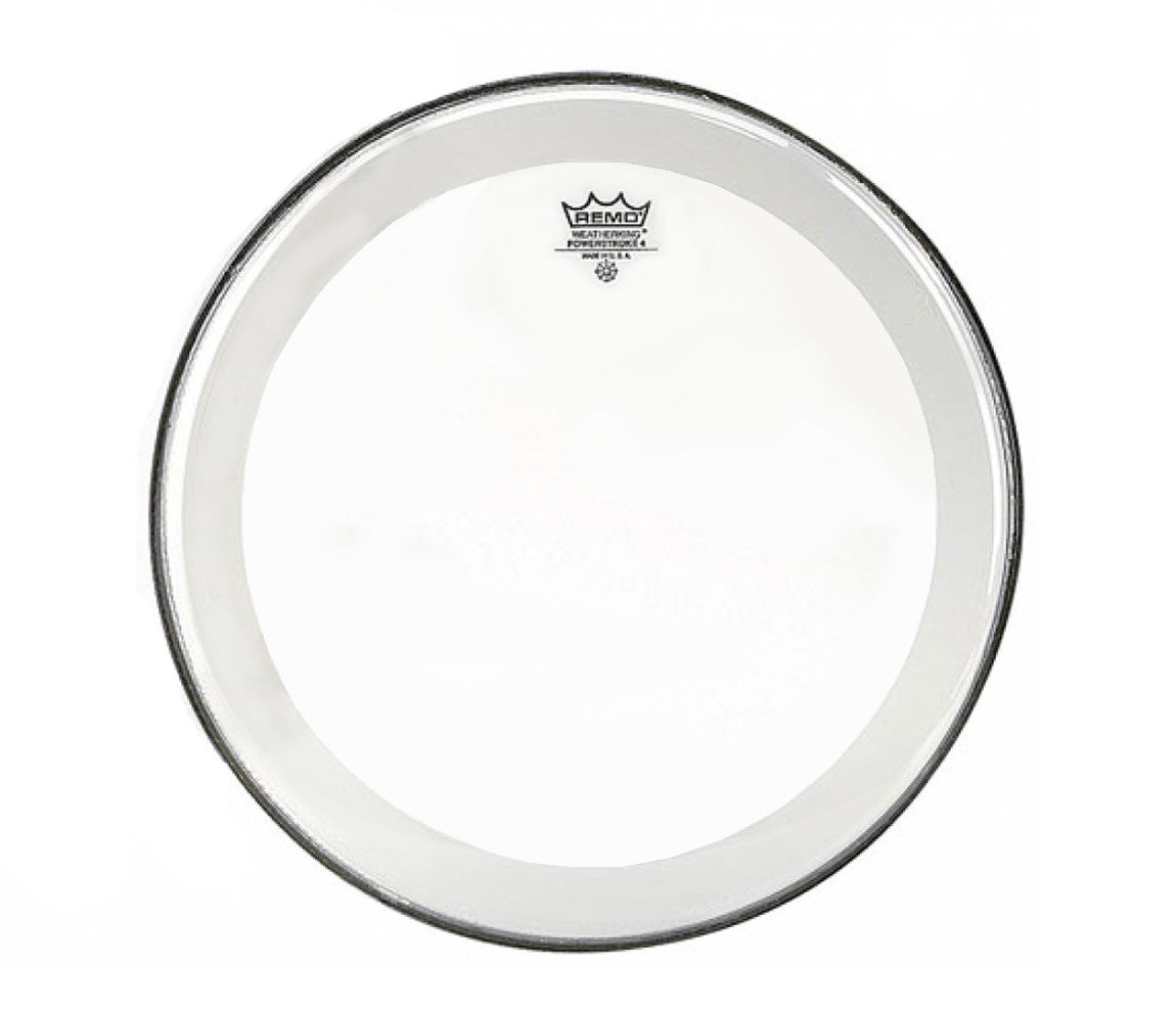 "Remo 18"" Powerstroke 4 Clear Bass Drum Head with double layer and clear dot"