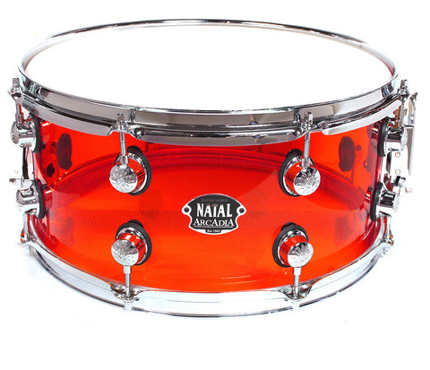 "Natal Arcadia 14"" x 6.5"" Transparent Red Snare Drum"