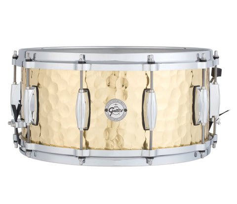 "Gretsch 14"" X 5"" Hammered Brass Silver Series Snare Drum"