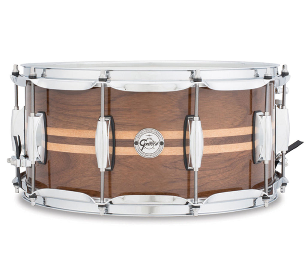 "Gretsch Silver Series Walnut with Maple Inlays 14"" x 6.5"" Snare Drum"