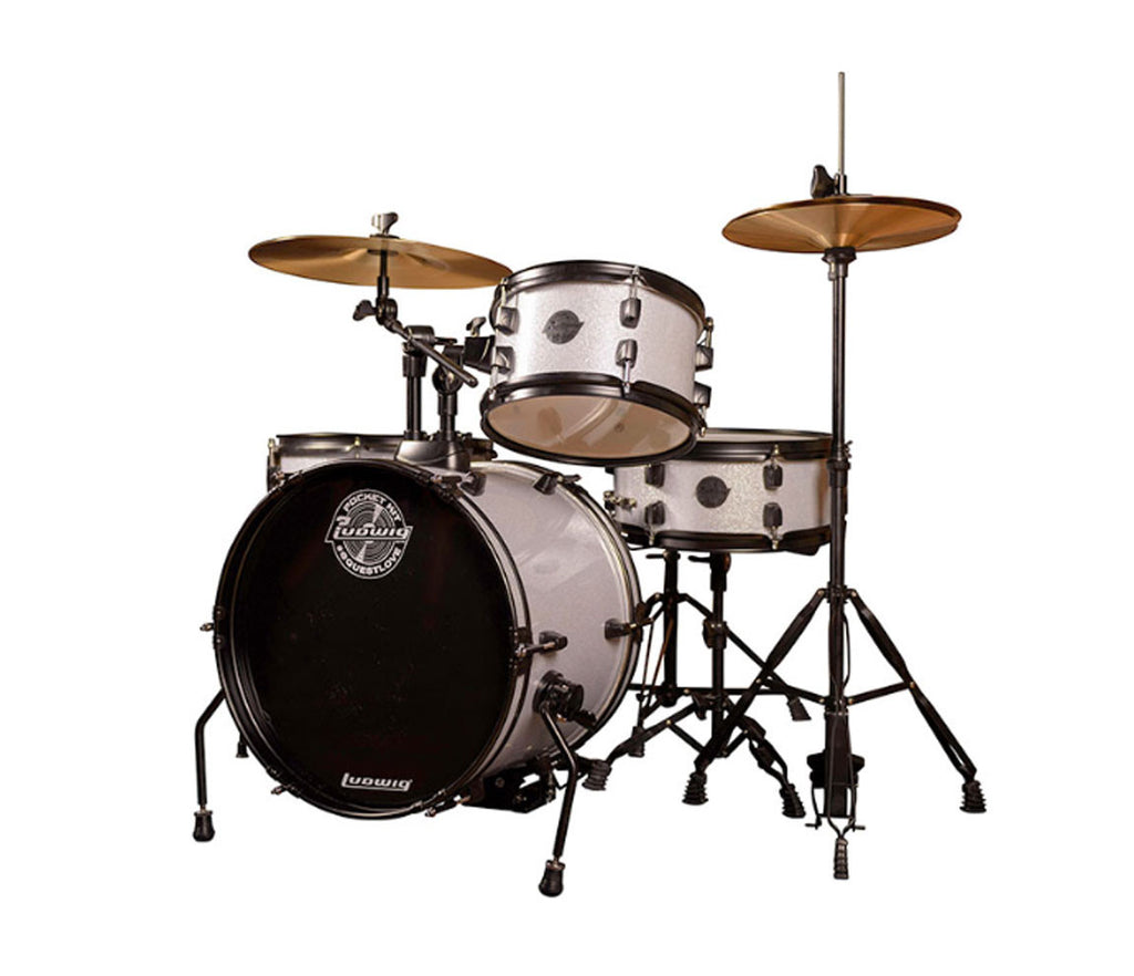 Ludwig The Pocket Kit 4 Piece Beginner Drum In Silver Sparkle