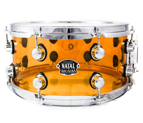 "13"" x 6.5"" Natal Arcadia Snare drum in Clear Acrylic Exclusive Limited Edition"