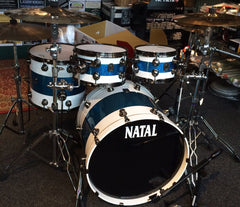 Natal UFX Split Lacquer Maple Shell Pack in White Blue Sparkle