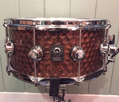 "Natal 14"" x 6.5"" Hand Hammered Old Bronze Snare Drum"