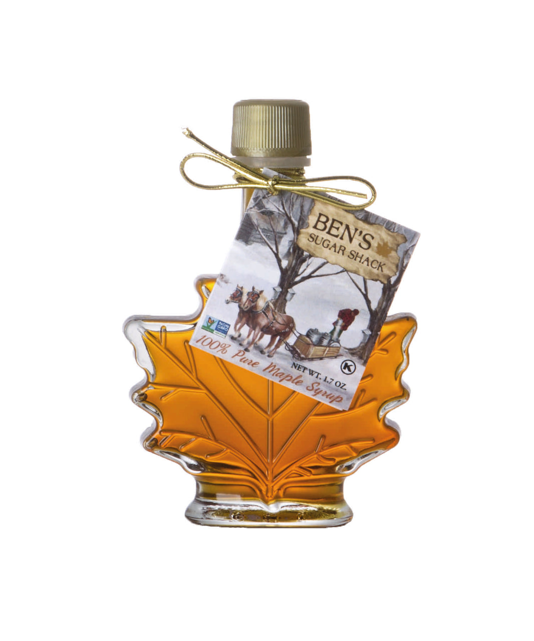 Ben's Glass Leaf Bottle 1.7 oz (maple syrup favors)