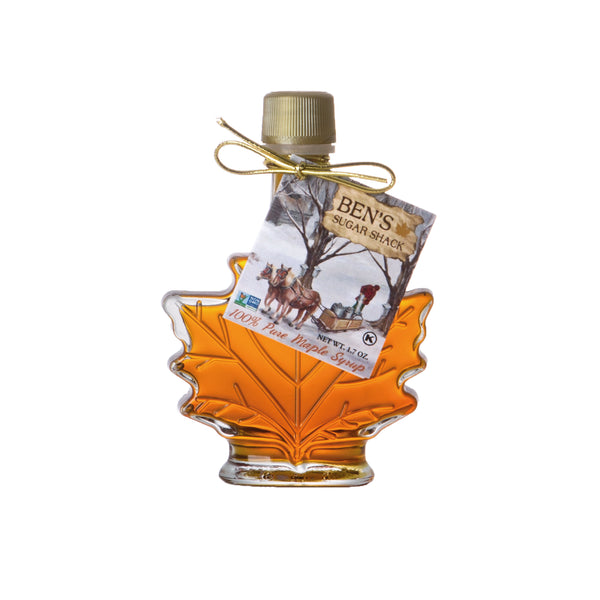 Pure Maple Syrup in 1.7 oz Glass Leaf