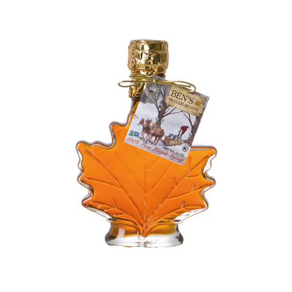 Pure Maple Syrup in 3.4 oz. Glass Leaf
