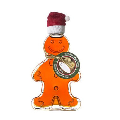 Pure Maple Syrup in Gingerbread Man Glass Bottle