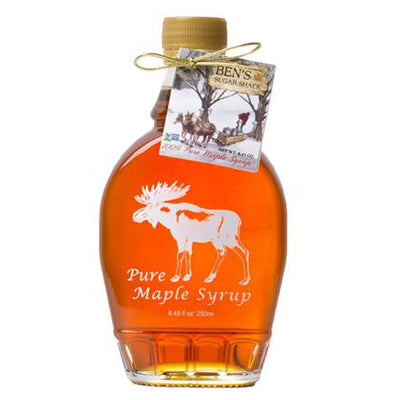 Pure Maple Syrup in Moose Flask Glass Bottle 8.45 oz