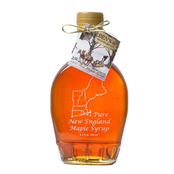 Pure Maple Syrup in New England 8 oz Glass Flask