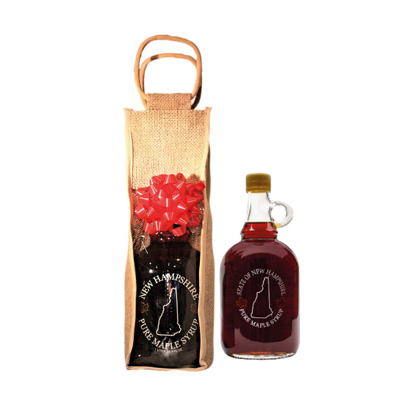 1 Liter Pure Maple Syrup With Bag & Bow (Corporate Gift Favors)