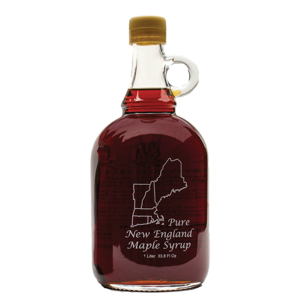 Pure Maple Syrup in 33.8 oz. New England Glass Jug