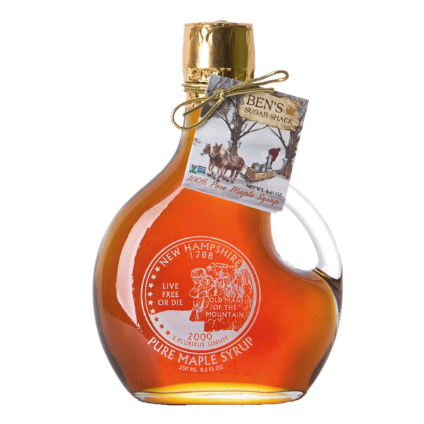 Pure Maple Syrup in Man of the Mountain Basque Glass Bottle 8.45 oz