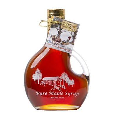 Pure Maple Syrup in Covered Bridge Basque Glass Bottle 8.45 oz