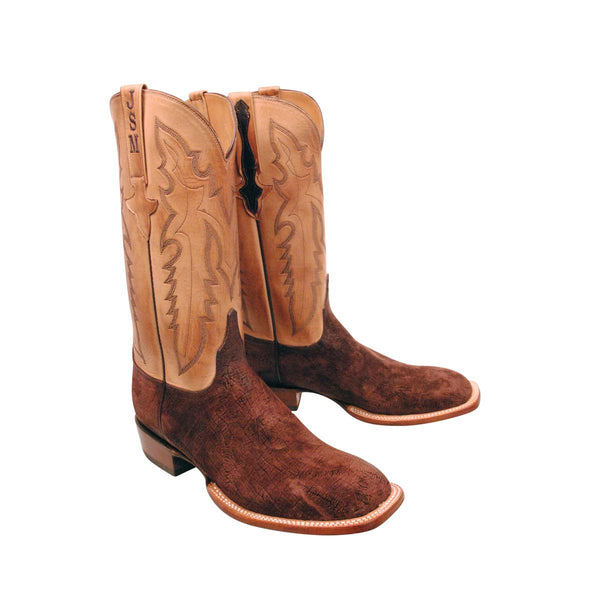 Tan Hippo with Initials Stitched Custom Lucchese Boots