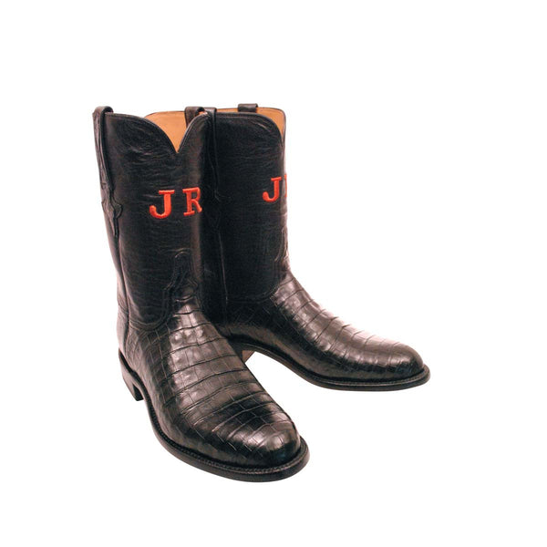 Black Caiman Crocodile Belly Custom Lucchese Boots