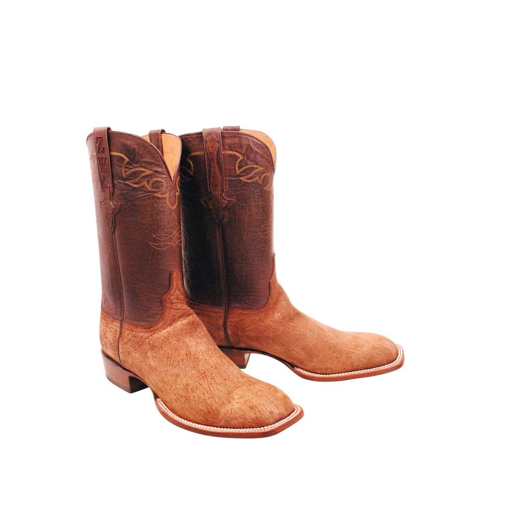 Tan Hippo Inlay Initials Custom Lucchese Boots