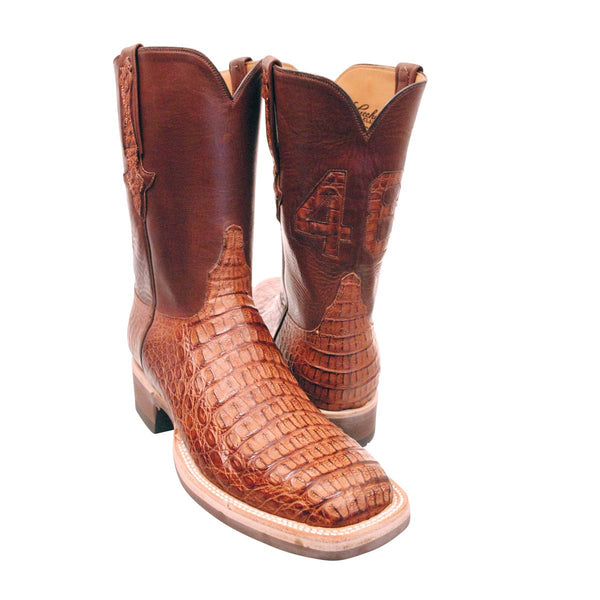 "Tan Burnished Hornback Caiman Back Cut 10"" Custom Lucchese Boots"