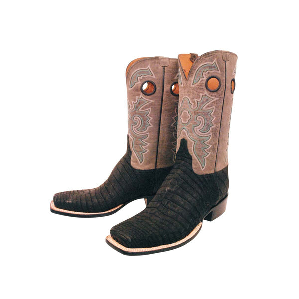 Black Sueded Caiman Crocodile Belly Custom Lucchese Boots